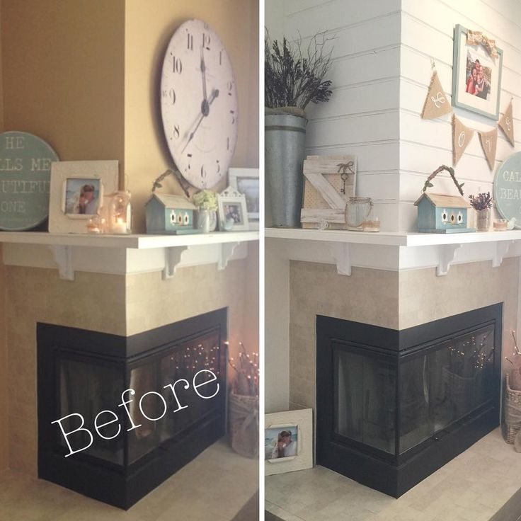 #Shiplap before & after using tongue and groove pine  - corner fireplace, mante5