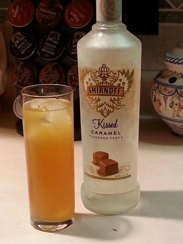 Saturday night carmel vodka ice cold mixed with apple cider. toss in a few ice cubes and stir. yum!
