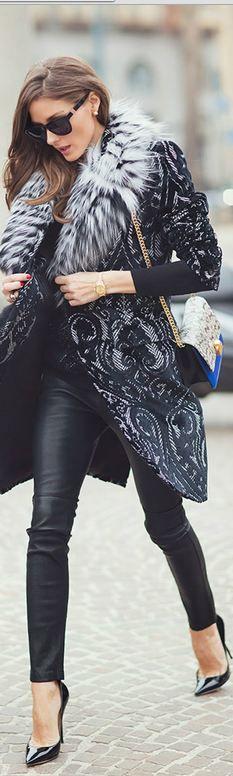 #street #style Olivia Palermo winter fur coat @wachabuy