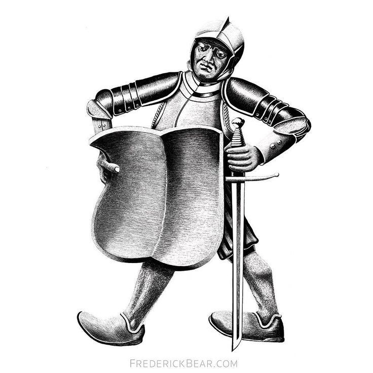 Knight with Shield #illustration from Frederick Bear  A Tale of Bern. Hand drawn on the iPad Pro with the Apple Pencil.
