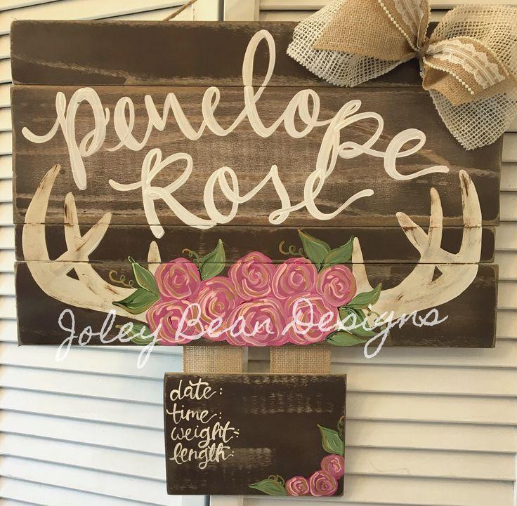 Rustic Girl Deer and Floral Wooden Hospital Door Hanger Version 2 #etsy #flowers #babygirl #floral #woodendoorhanger #hospitaldoorhanger #deer #nursery