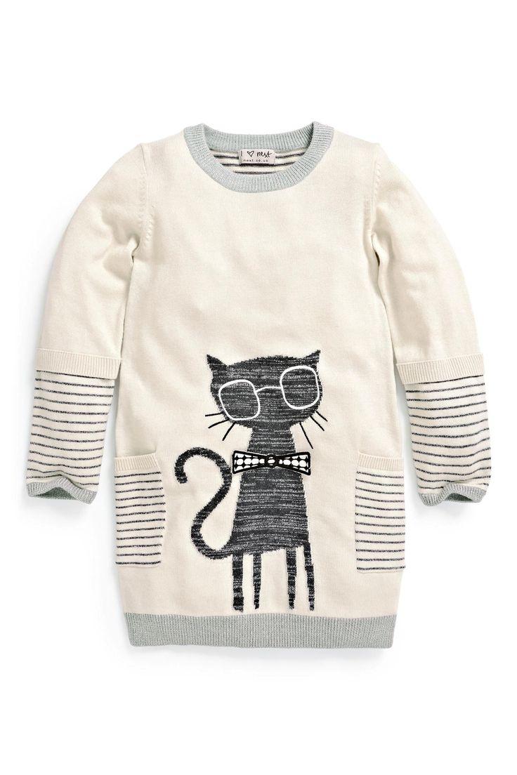 Buy Ecru Cat Jumper Dress (3mths-6yrs) from the Next UK online shop