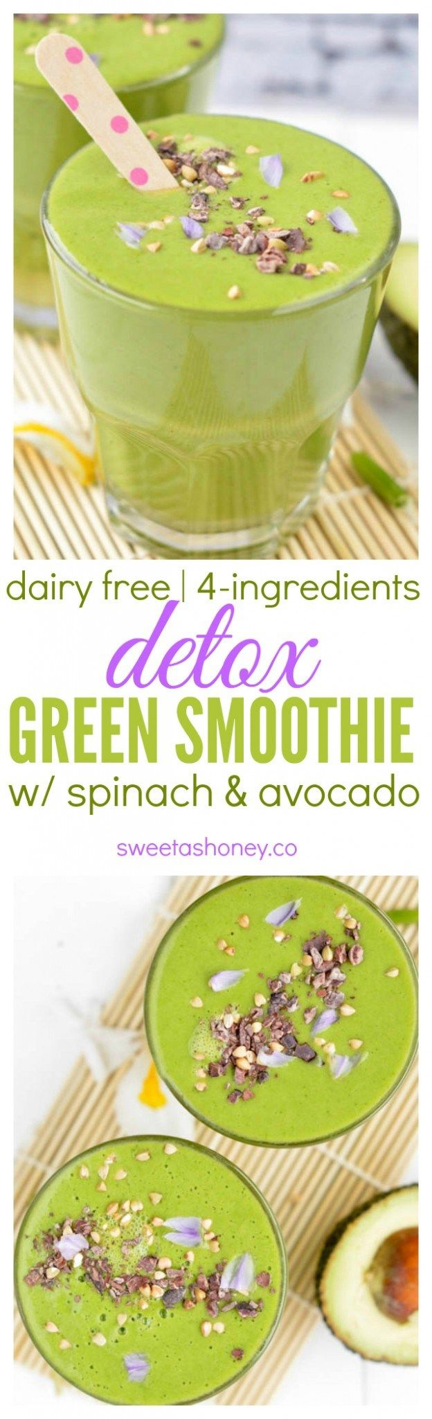 4-ingredients Detox Green Smoothie with Spinach and Pineapple. Dairy free. Vegan. Clean Smoothie with almond milk