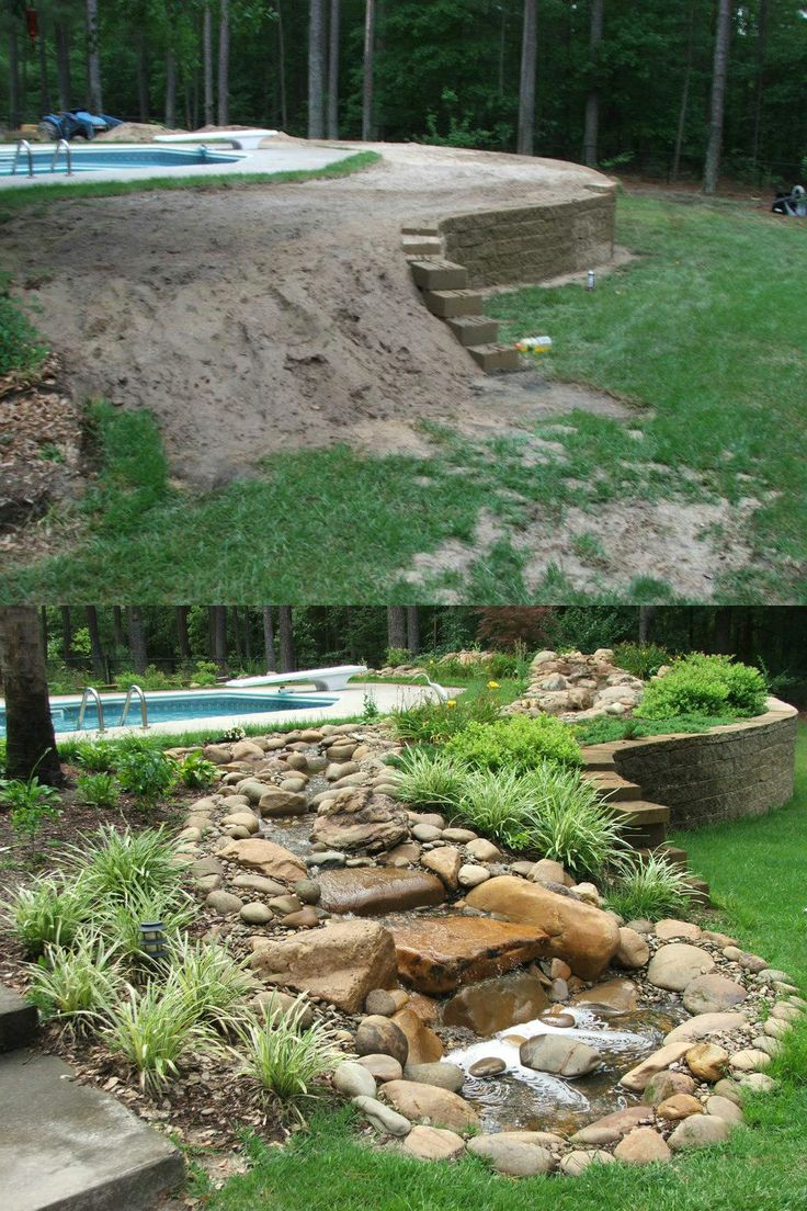 Transformation by McCormick Landscaping in North Augusta, SC. | Before and After | Backyard water feature, Pond landscaping, Outdoor ponds