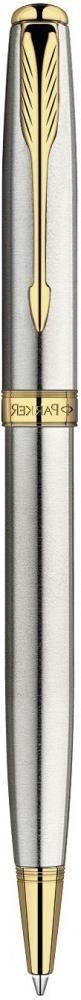 Шариковая ручка поворотная Parker Sonnet k527 Stainless Steel Gt черный позолота 23 К s0809140