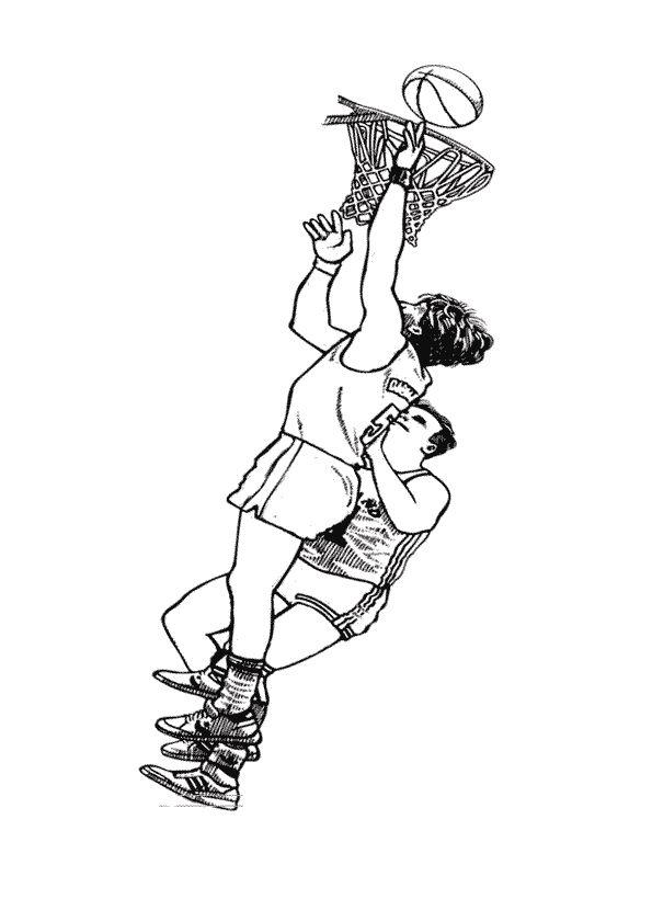 Dessin à colorier de deux joueurs de Basketball en plein matche