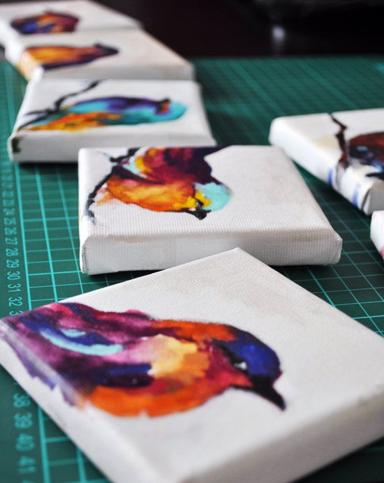 Bird 23 Original Painting Mini Bird Portrait by AbstractArtM Love the ccolours