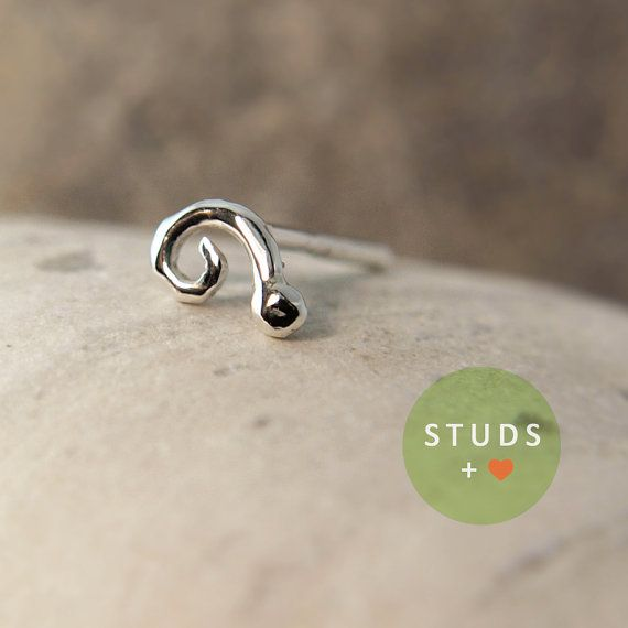 CARTILAGE or TRAGUS Swirl sterling silver/ cartilage by lopic