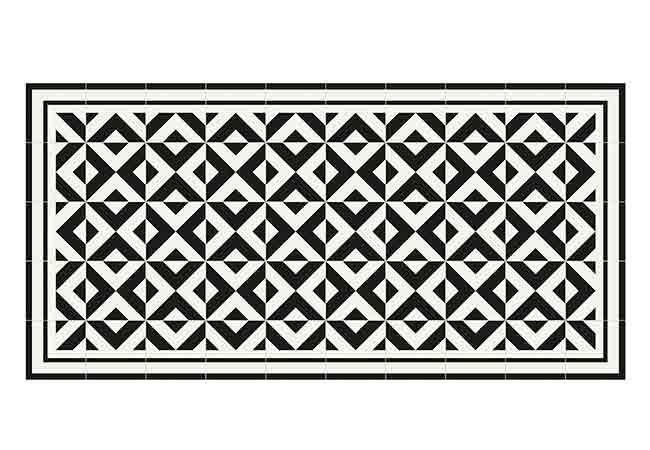 alfombra vinílica blanco y negro