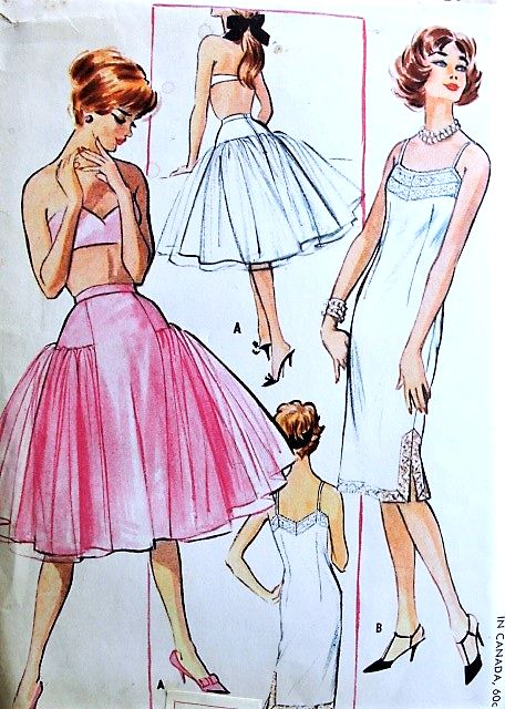 1950s LINGERIE Pattern McCALLS 4679 Chemise Slip and Trapeze Petticoat Bust 34 Vintage Sewing Pattern UNCUT