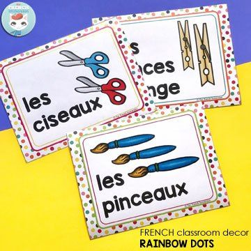 French Classroom Decor Rainbow Dots: classroom supply labels. Editable (text) file included so that you can add the words you use in your French classroom!