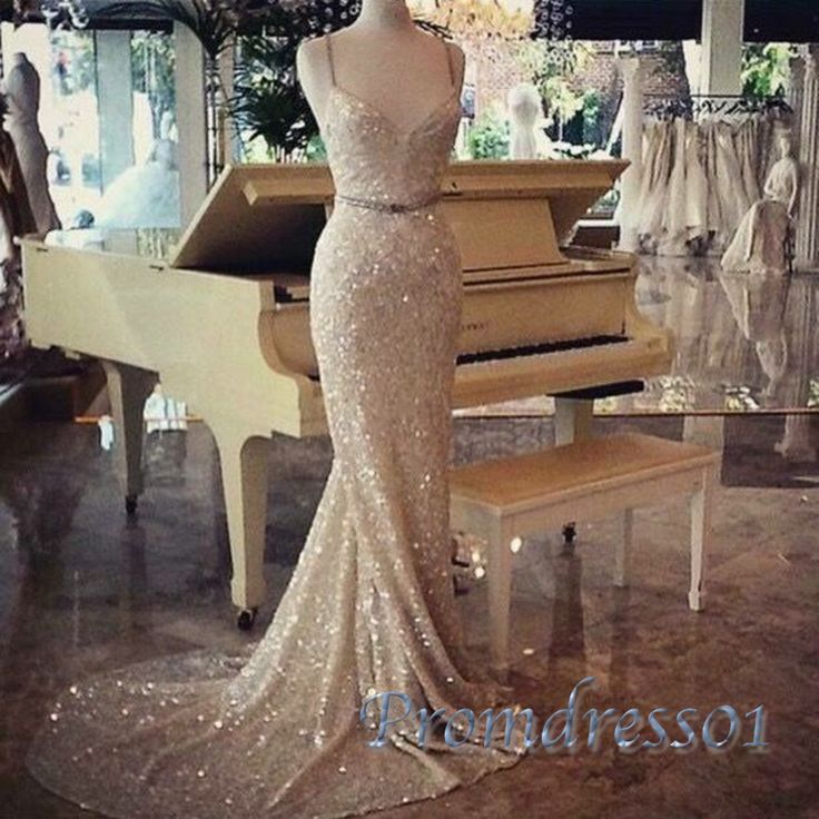 Sparkly champagne chiffon sequins long train prom dress with straps, ball gown, prom dress 2016