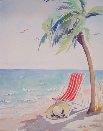 """""""Beach Hat & Chair"""" by Sue Lynn Cotton"""