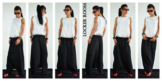 Maxi pantaloni nero / harem di lino di ClothesByLockerRoom su Etsy