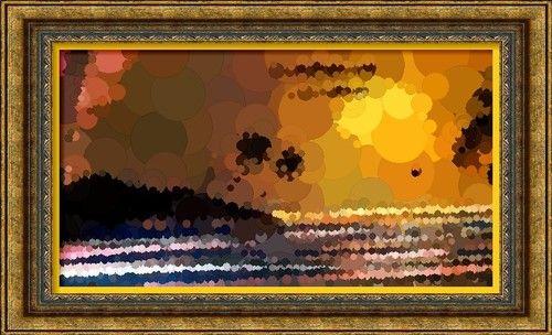 Dessin et peinture - vidéo 2278 : Coucher de soleil, au spray, sur toile à la manière des graffeurs -- mixed média.