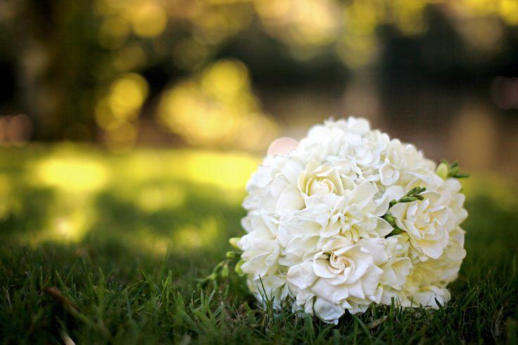 White hydrangea & Gardenia Bridesmaid Bouquet