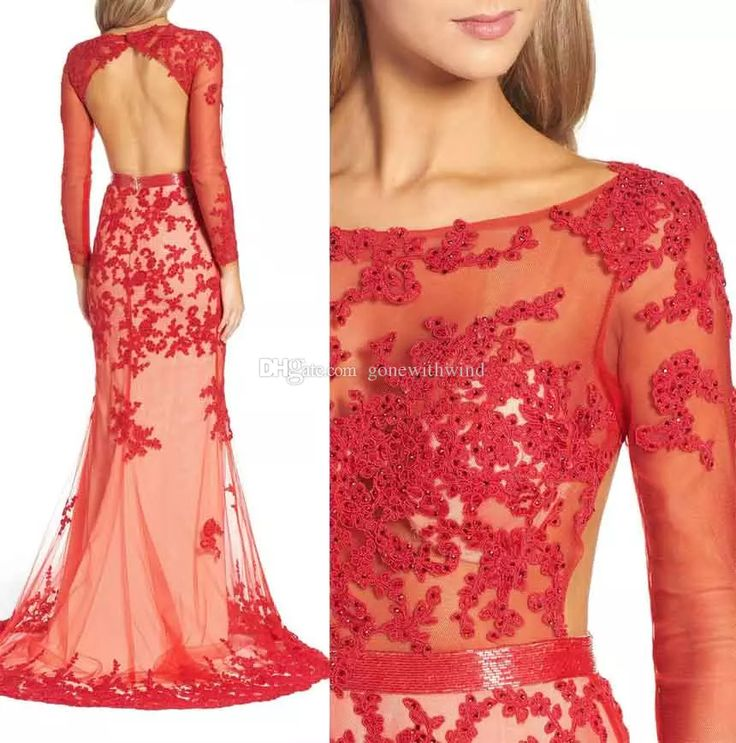 Open Back Lace Prom Dresses 2017 Long Sleeves Bateau Neckline Sweep Train Mermaid Cocktail Prom Gowns Debs Prom Dresses Designer Prom Dresses From Gonewithwind, $301.51| Dhgate.Com