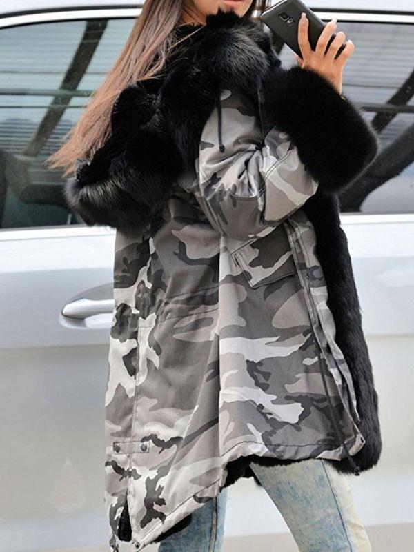 Camouflage Winter Hooded Fur Patchwork Women's Overcoat
