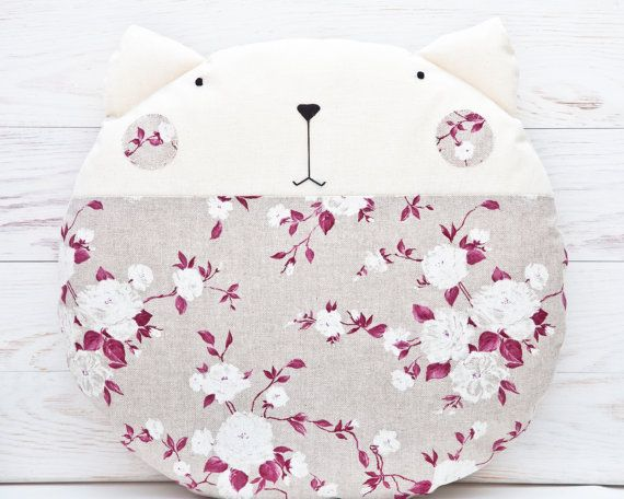 Cat Beanbag Floral Round Pillow Pink Nursery Decor by JuliaWine