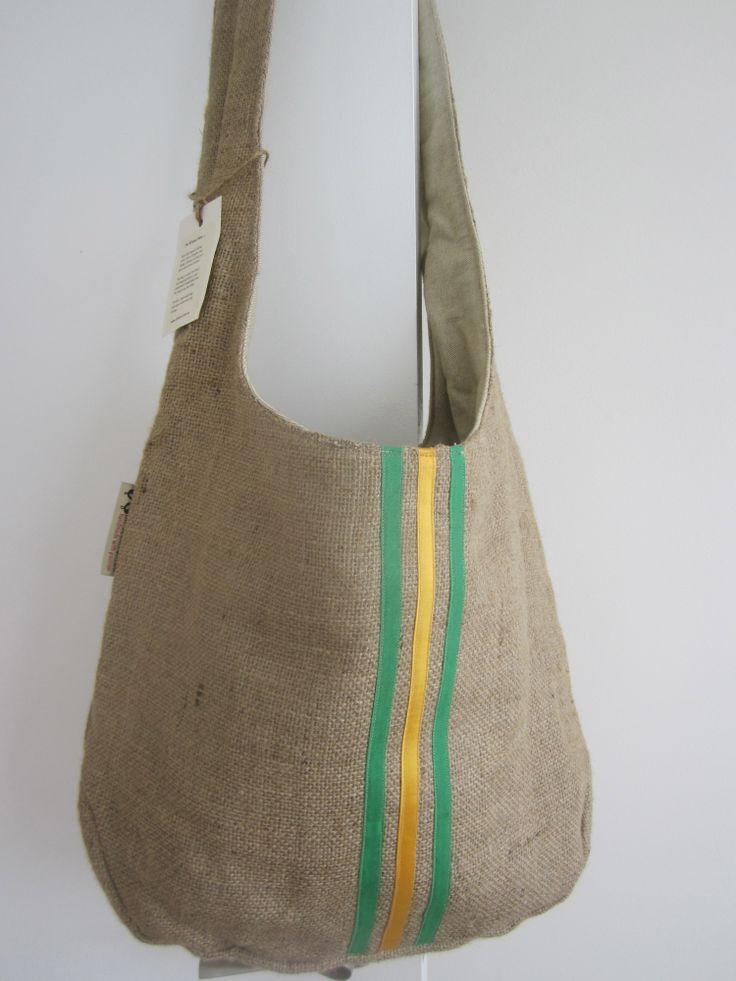Hessian bag - green/yellow stripes