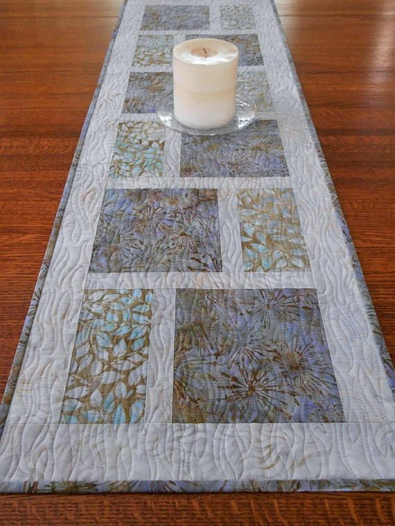 Modern Quilted Table Runner In Shades Of Lavender Blue And Aqua Batik Table Runner Dining Table Decor Bedroom Decor Coffee Table Runner Batik Table Runners Quilted Table Runners Modern Table Runners
