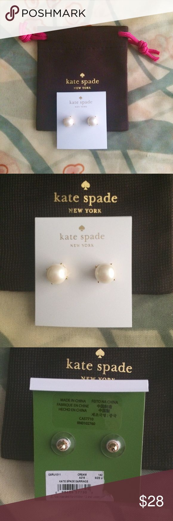 KSNY pearl stud earrings Authentic Kate Spade pearl studs / earrings; brand new; includes dust bag as pictured. kate spade Jewelry Earrings