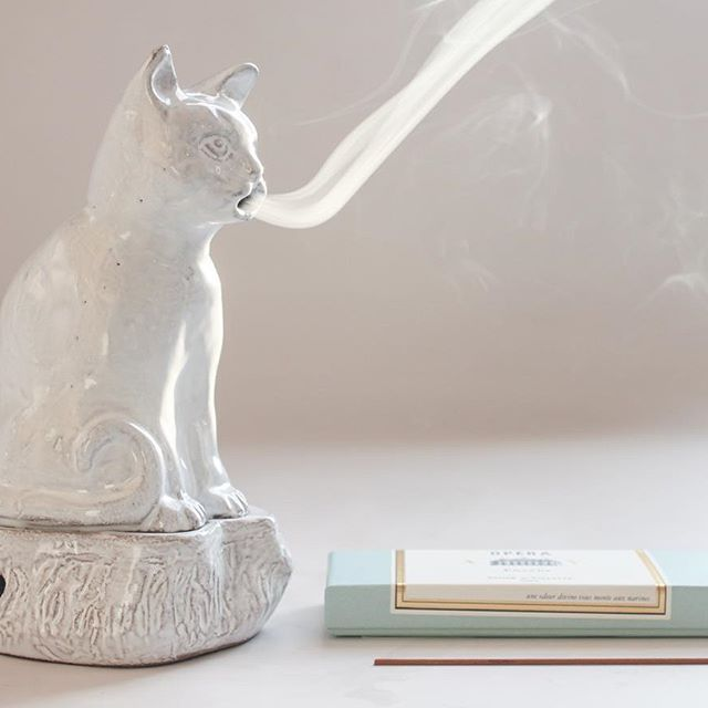 Smoking Kitten Incense Burner! Created by Astier de Villatte in collaboration with Countess Setsuko Klossowska de Rola, a painter (and widow of the painter Balthus). Email customerservice@catbirdnyc.com for inquiries & purchases.