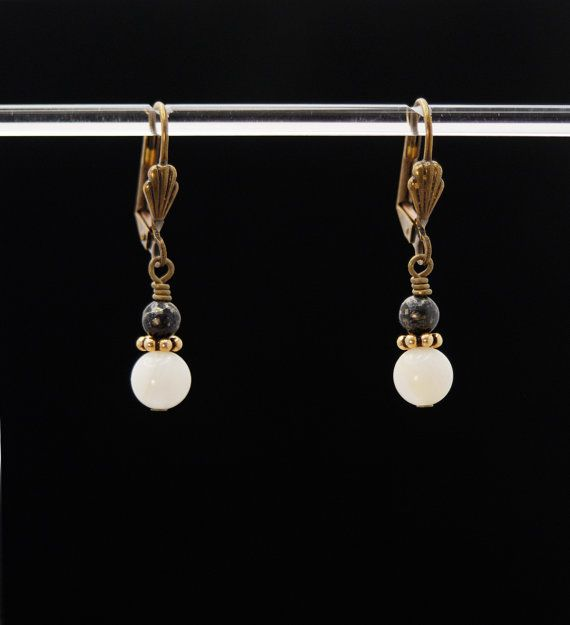 HEAVENLY ACTION Black and White Earrings (Mother of Pearl and Pyrite on Brass lever backs)
