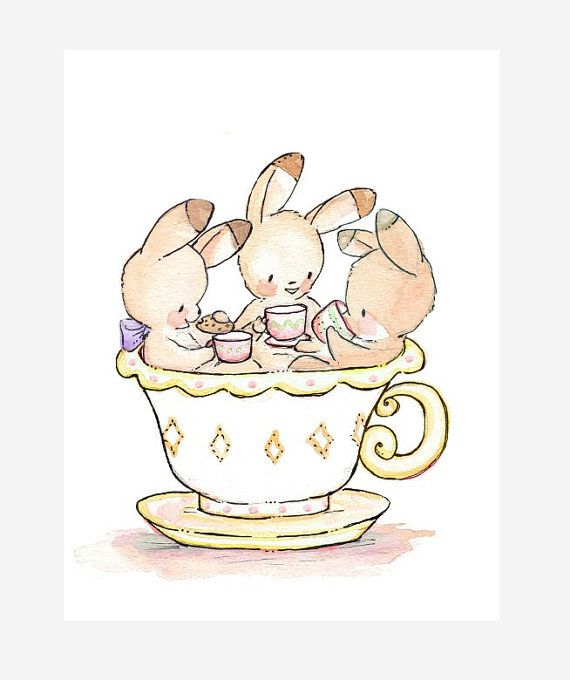 Tea Party in a Teacup LEMON. PRINT 8X10. Children by LoxlyHollow