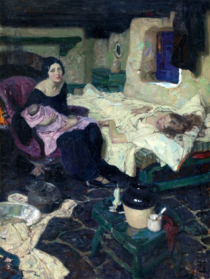 DEAN CORNWELL (American, 1892-1960) The Beautiful Mid-Wife, the Baby, and the Beautiful Mother, Good Housekeeping illustration, September 1923 Oil on canvas 39.5 x 30