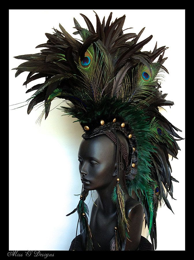 MADE TO ORDER Large Black Mohawk with Peacock by MissGDesignsShop, $435.00