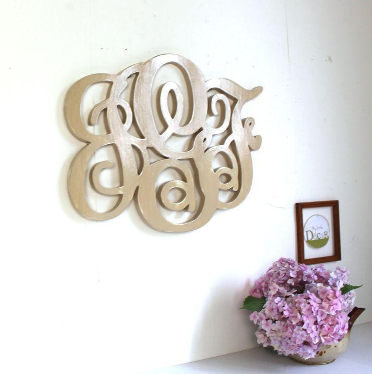 monogramme de mariage en bois peint personnalisé - monogramme personnalisé- initiales - mylittledecor : Décorations murales par mylittledecor