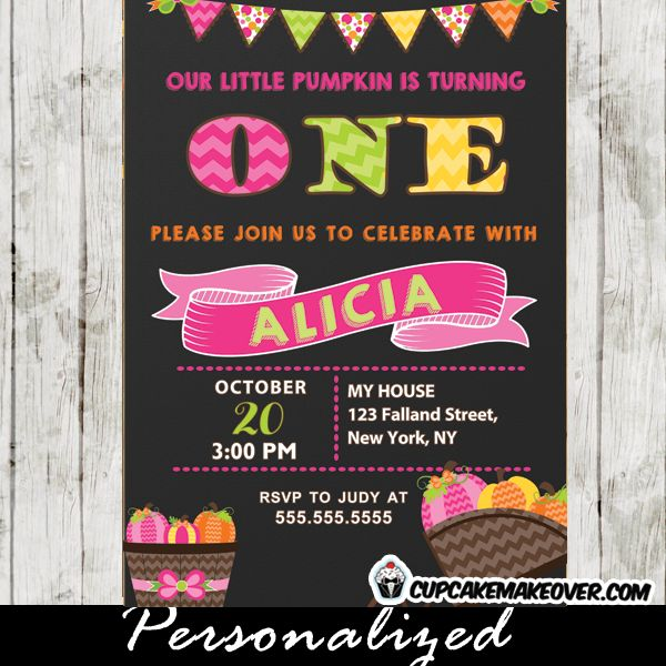 13 best fall pumpkin birthday invitations images on pinterest a cute little pumpkin 1st birthday invitation featuring one in pink green and yellow with filmwisefo Image collections