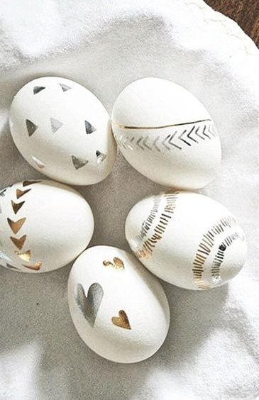 Silver and gold Easter Eggs