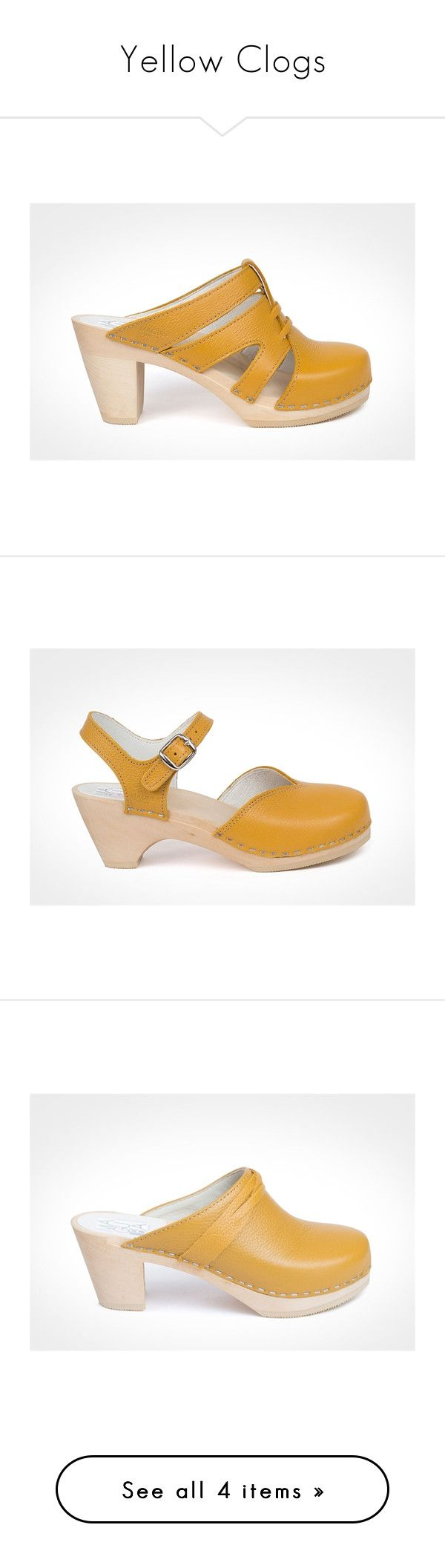 """Yellow Clogs"" by maguba ❤ liked on Polyvore featuring shoes, clogs, leather clog shoes, maguba, leather footwear, clogs footwear, yellow shoes, ankle strap clogs, clog shoes and genuine leather shoes"