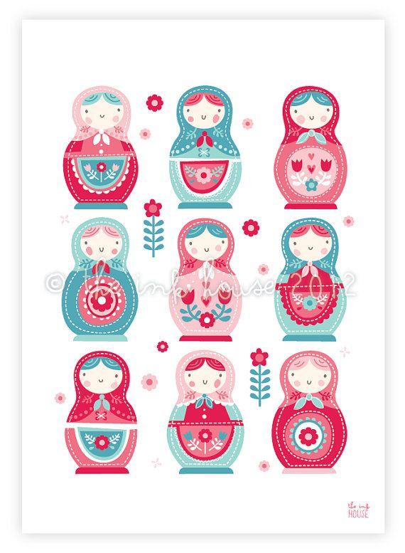 Girl nursery print prints babushka matryoshka by TheInkHouse