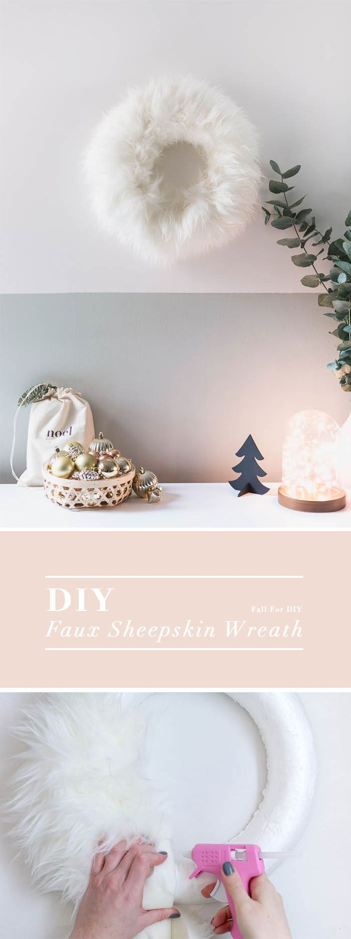 Make this DIY Faux Sheepskin Christmas Wreath. The perfect winter accessory for the run up to the festive season.
