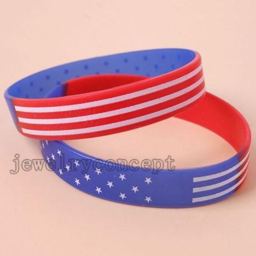 10pcs White Star&Stripe Red Blue Silicone Bracelets Wristbands European Style J