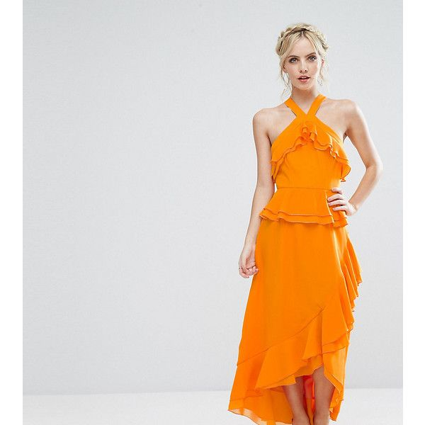 True Decadence Petite Halterneck Ruffle Maxi Dress ($65) ❤ liked on Polyvore featuring dresses, orange, petite, orange maxi dress, circle skirt, orange dress, ruffle dress and petite maxi dresses