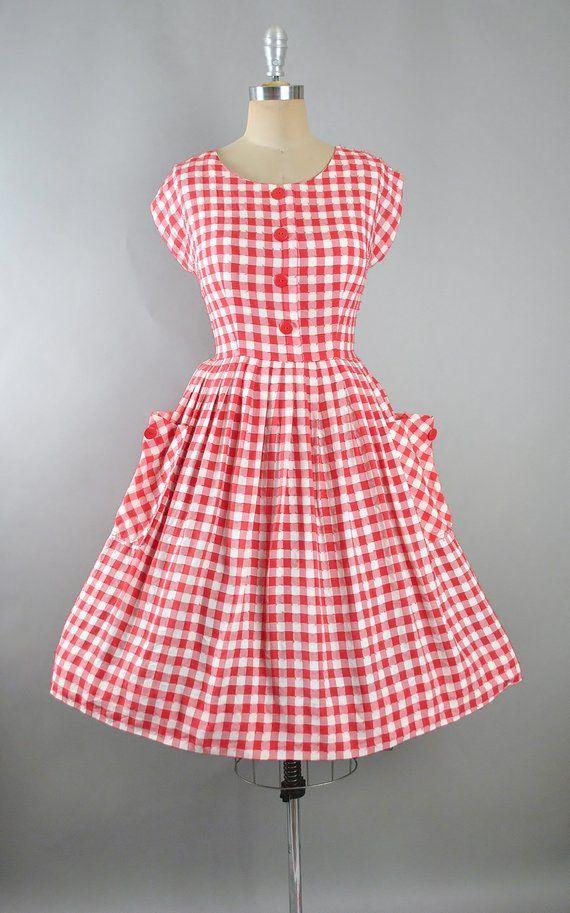c2542f8c9f2f8 Vintage 50s Dress / 1950s Cotton Sundress Red White Checkered CHECKS ...