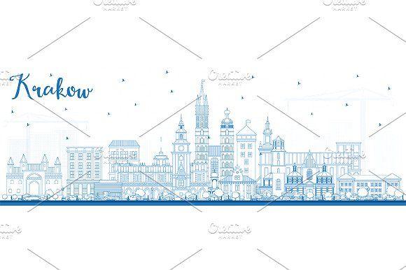 #Outline #Krakow #Poland #City #Skyline by Igor Sorokin on @creativemarket
