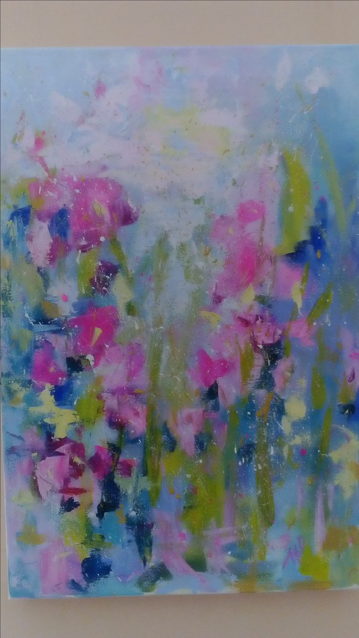 flowers gardens  abstract acrylic 60x40cm