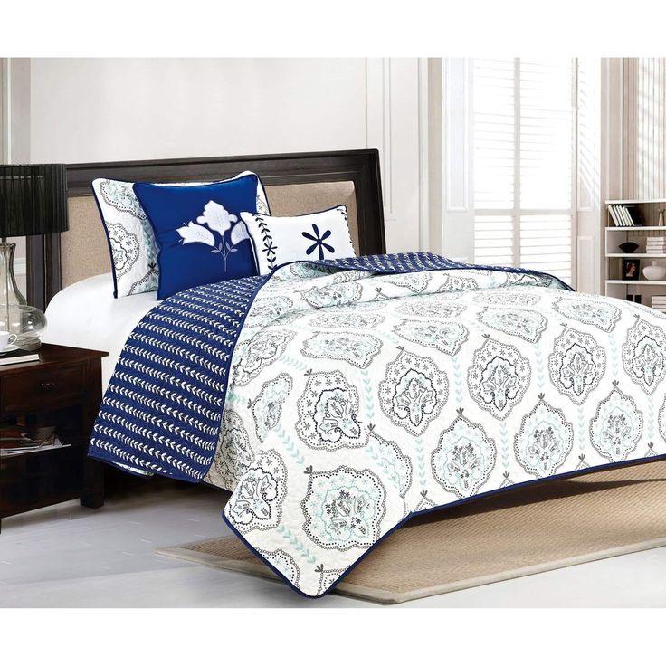 5 piece quilt set reversible full queen navy home decor coverlet bedroom new