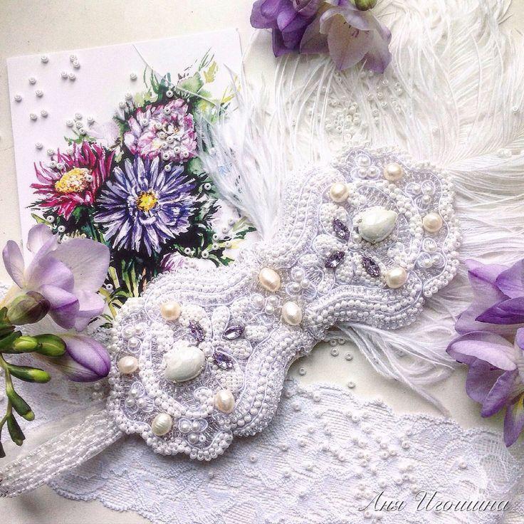 Повязка с перьями в стиле Великий Гэтсби ТУМАННЫЙ РАССВЕТ - белый, свадебное украшение