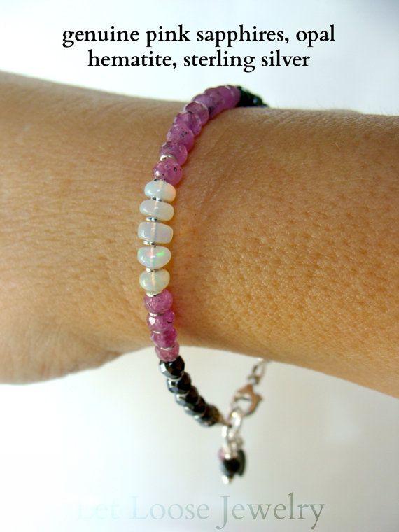 Opale rosa Bracciale ematite zaffiro pietre preziose genuine