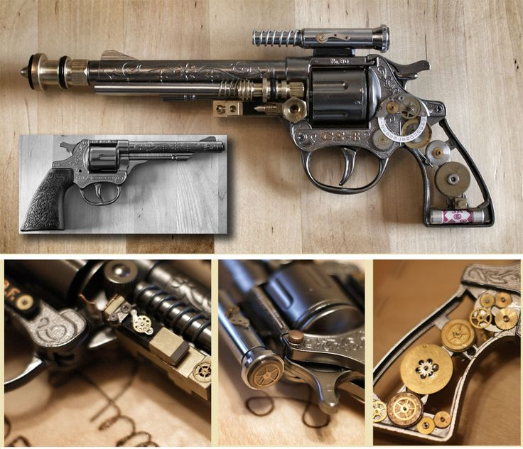 Amazing! Taking a children diecast cowboy cap gun and transforming it into this steampunk work of art!  The grey picture shows the starting point.