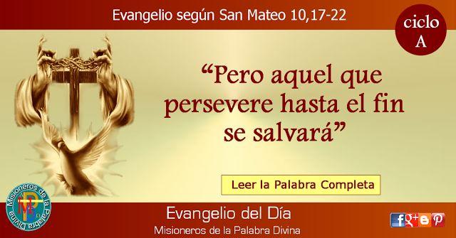 MISIONEROS DE LA PALABRA DIVINA: EVANGELIO - SAN MATEO 10,17-22