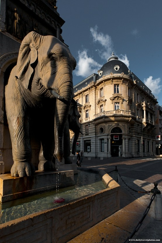 Chambery, France- Fountain of Elepants. http://www.fasthotel.com/rhone-alpes/hotel-chambery