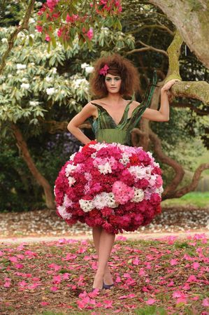 Westonbirt Arboretum, near Tetbury in Gloucestershire, launched a competition for young fashion designers to create a dress which takes inspiration from the spring blooms. The winning design was by Alice Riley, 19, a fashion student from Epwell, near Banbury, who chose pink and white rhododendrons to make the puff ball skirt of this prom dress.