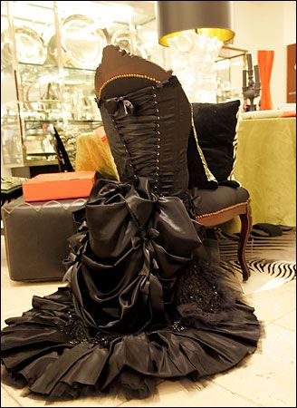 Awesome idea to re-purpose a chair and a dress to create a Victorian era piece of furniture.
